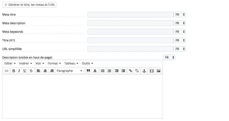 Créer des catégories avec Advanced search 5 de Prestashop, étape 3